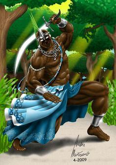 Ogum, God of War and Iron. Orisha of the Ways and War. By mantoano African American Art, African Art, Caricatures, Azores Portugal, Orishas Yoruba, African Mythology, African Goddess, Black Comics, Hulk
