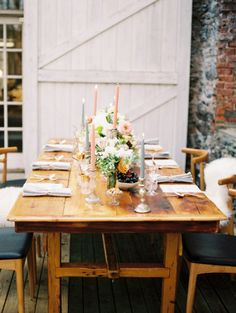 #tablescape Photography by trentbailey.com Coordination + Styling by firefly­events.com/ Floral Design by poppiesandposies.com/  Read more - http://www.stylemepretty.com/2013/07/08/salvato-mill-photo-shoot-from-trent-bailey-photography-firefly-events/