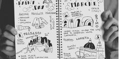 °illustration travel journal° Sketch on rainy itinerary. What to do in central Italy if it rains? Marche region has a lot of water proof treasures to offer! :)  rainy-day-itinerary-sketch