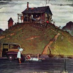 "Marmont Hill - ""Changing a Flat"" by Norman Rockwell Painting Print on Canvas"