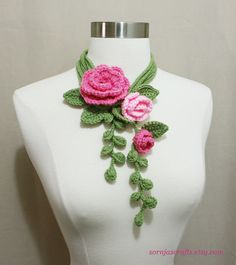 Unique Crochet Lariat/ Necklace with Flowers by SornjasCrafts, $28.00
