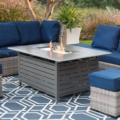 Red Ember Longmont 50 x 38 in. Rectangle Gas Fire Pit- Charcoal   from hayneedle.com