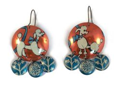 Recycled Tin Earrings, French Poodle Earrings, Blue and Orange Gypsy Earrings by TinMoonJewelryworks on Etsy. $40