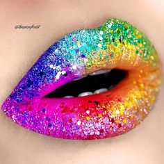 I'm in rainbow heaven looking at this glorious #lipart by @theminaficent Rainbow Vibes Sometimes you just need a little color in your life ♥️ Lip deets: I use @mbacosmetics HD lip paint in O.C.D, Ozone, Virus, Skooldayz, Jailbreak, and Miss Monroe. Glitters are random nail glitters which I got from a local store many years ago . #rainbow #colorful #lip