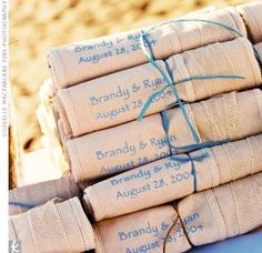 The Favors: Although guests walked away with tons of goodies, the couple's favorite was the customized beach bags.