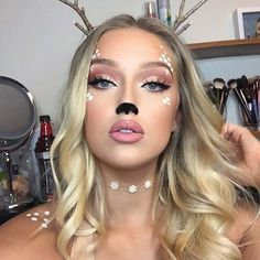 23 Cute Makeup Ideas for Halloween 2018 Cute Deer Makeup for Cute Halloween Makeup Ideas Halloween 2018, Deer Halloween Costumes, Cute Halloween Makeup, Christmas Makeup Look, Halloween Looks, Cute Makeup, Gorgeous Makeup, Pretty Makeup, Simple Makeup