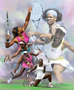 Venus and Serena Williams SUPERSTARS Tennis Action Poster Art Print - Wishum Gregory LLC
