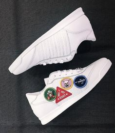 New Spring/Summer 2018 Collection White patch sneakers in leather by Spring Summer 2018, Adidas Stan Smith, Dsquared2, Adidas Sneakers, Exo, Leather, Outfits, Shoes, Collection