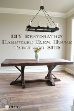 DIY How to make a Restoration Hardware farm house table for $110 #diningroomfurniture