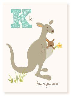 K is for Kangaroo - 5x7 art print - nursery art for children
