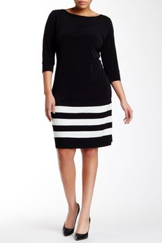 Stripe Hem T-Shirt Dress (Plus Size) by A.B.S. by Allen Schwartz on @nordstrom_rack