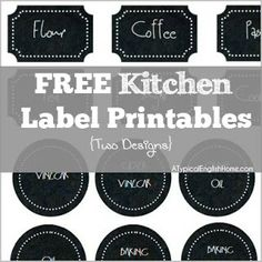 A Typical English Home: Free Printable: Kitchen Labels  Plaque & Round styles! Just click on each link in blue for the auto download- & save as!