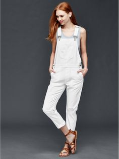 Gap Women 1969 Denim Slouch Ankle Destructed Overalls CAD) ❤ liked on… Overalls Women, Denim Overalls, Denim Jumpsuit, White Dungarees, Petite Jumpsuit, White Denim, White White, Gap Women, Everyday Fashion