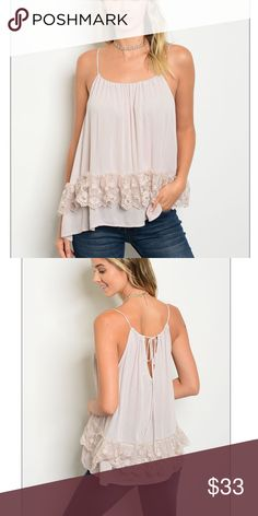 🆕 Coco's Light Spaghetti Strap Top The latest addition to our boutique. The perfect spaghetti strap lace trimmed detail top. Tank style. Back tie. Loose fit. True to size. 100% Rayon. Light dusty cocoa color.   ✅ Next or same business day shipping.  ✅ Boutique prices are firm unless bundled for a discount.  ❤️❤️❤️❤️❤️❤️❤️❤️❤️❤️❤️❤️❤️ Trindy Clozet Boutique Tops