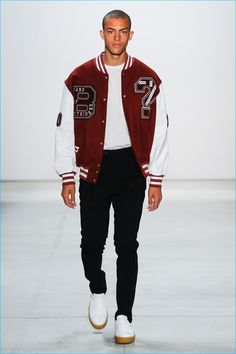 The varsity jacket is a key standout for Band of Outsiders' spring-summer 2017…