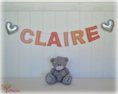 Personalized felt name banner - wall art nursery decor - nursery decor - ombré peach pink & silver - MADE TO ORDER by LullabyMobiles on Etsy