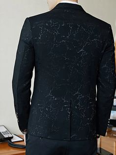 Men's V Neck Blazer Regular Floral Party Work Spring Long Sleeve Black / Red / Royal Blue M / L / XL 2020 - Rs. 4157 Black Tuxedo Suit, Blazer Outfits Men, Man Party, Royal Blue, V Neck, Suits, Long Sleeve, Floral, Mens Tops