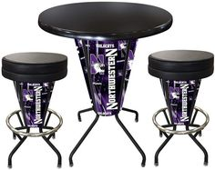 Northwestern Wildcats D1 Black Lighted Pub Table Set. Two additional Stools are optional. Visit SportsFansPlus.com for details.