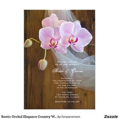 Rustic Orchid Elegance Country Wedding Invitation