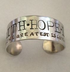 Wish it said Galatians 2:20- then it would be perfect!    And maybe leather like the one Virginia gave me....    cuff bracelet handstamped cuff scripture jewelry faith hope love wide bracelet adjustable size tarnish free non allergenic Harp Strings by harpstringscreations on Etsy