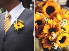 sunflower bouquets for weddings | Rustic Camp Style New Hampshire Wedding - Rustic Wedding Chic