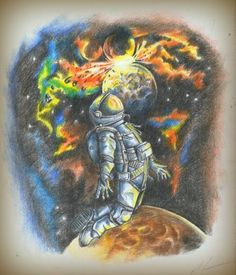 Космонавт во Вселенной. Цветные карандаши.