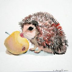 Hedgehog and apple original watercolor painting by OriginalArtOnly