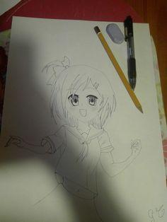 Disegno manga fatto da me! Ricalcato con penna nera 😄😘 #creiamoinsieme