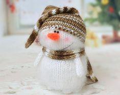Cute Snowman hand-knitted toy Amigurumi от MiracleStore на Etsy