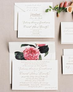 Summertime season! Here, all of our favorite wedding stationery suites from summer weddings.     Elegant Invitation  This calligraphed and letterpressed suite from Sondra Simon of The Sophisticated Scribefeatured a hand-drawn sketch of the wedding's venue, a European-esque castle in upstate New York, as well as a camellia-print envelo...
