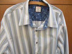 J. Garcia Jerry Garcia Men's LS  Flip Contrast Cuff Striped Shirt 3XLT 3XL Tall #JGarcia #ButtonFront