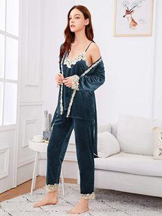 Shop Contrast Lace Velvet Cami Pajama Set With Robe online. SHEIN offers Contrast Lace Velvet Cami Pajama Set With Robe & more to fit your fashionable needs. Bodysuit, Onesie, Velvet Cami, Girls Pajamas, Sexy Pajamas, Pyjamas, Bikini, Green Fashion, Pajama Set