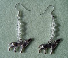 Handmade wolf earrings with crystals £3.50 + postage