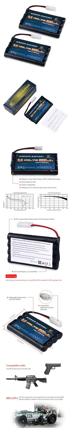 Melasta 2packs 9.6v 1600mAh Ni-MH Rechargeable Replacement RC Battery Pack with Tamiya Connector for RC Cars Boat Robot Security