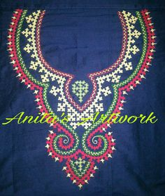 Anita's Artwork Hand Embroidery Dress, Embroidery Neck Designs, Hand Embroidery Stitches, Embroidery Techniques, Beaded Embroidery, Embroidery Patterns, Sewing Patterns, Kutch Work Designs, Neckline Designs