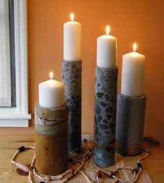 Concrete candle stand perfect for shelves/dressers/desks/nightstands.