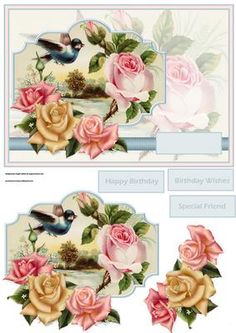 Pink rose and blue bird card with decoupage on Craftsuprint designed by Angela Wake - Pink rose and blue bird card with decoupage and sentiment tags, a lovely card for lots of occasions - Now available for download!