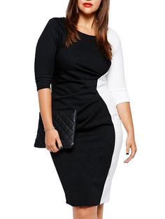 Half Sleeve Contrast Color Midi Plus Size Dress Maternity Dress on buytrends.com