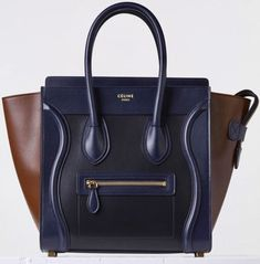 Céline Luggage Micro Tricolor Navy Black Calfskin Leather Tote. Get one of the hottest styles of the season! The Cline Luggage Micro Tricolor Navy Black Calfskin Leather Tote is a top 10 member favorite on Tradesy. Save on yours before they're sold out!