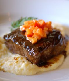 Find out how to make Balsamic Braised American Lamb Belly Lamb Recipes, Chef Recipes, Recipies, Lunches And Dinners, Meals, Whipped Potatoes, Braised Lamb, Vegetable Sides