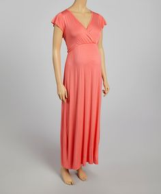 Look at this Can't Wait Maternity Coral Maternity V-Neck Maxi Dress - Women on #zulily today!