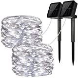 2 Pack Solar String Lights, 33ft 100LED 8 Modes Outdoor String Lights, Waterproof Decorative String Lights for Patio, Garden, Gate, Yard, Party, Wedding, Christmas Solar String Lights, String Lights Outdoor, Decor Interior Design, Interior Decorating, Concrete Forms, Fire Pit Designs, Patio Lighting, Brick, Yard Party