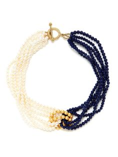 KEP Pearl & Navy Link Necklace -- perfect for 4th of July!! Shop now at: www.gilt.com/sale/women/palette-popping-jewelry/product/166796245-kep-pearl-navy-blue-bead-multi-strand-necklace