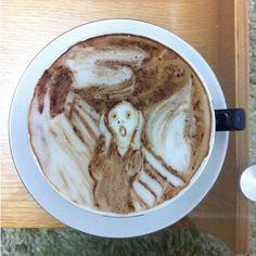 Edvard Munch's Scream by caffè latte artist Kazuki Yamamoto