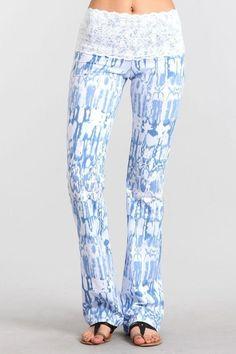 Splatter Blue Lace Tie Dye Yoga Pant
