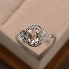 Pink morganite ring morganite engagement ring by LuoJewelry