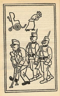 """Josef Lada – Illustration for Jaroslav Hašek's """"The Good Soldier Švejk and His Fortunes in the World War,"""" 1924 The Good Soldier Svejk, Austro Hungarian, World War One, First Novel, Czech Republic, Fairy Tales, Literature, The Past, Good Things"""