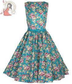 Lindy Bop 50 s Audrey Vintage Floral Summer Dress Turquoise