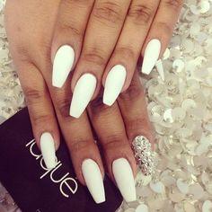 Full set white matte Swarovski $50 coffin/ballerina nails done by #laquenailbar by laquenailbar http://ift.tt/N7Ug5c