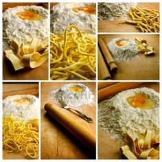 Homemade fresh pasta, italian spaghetti alla chitarra, trofie and pappardelle with ingredients and tools Stock Photo